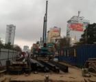 Thi công cọc móng trụ cầu vượt nút giao thông Trần Khát Trân – Đại Cồ Việt